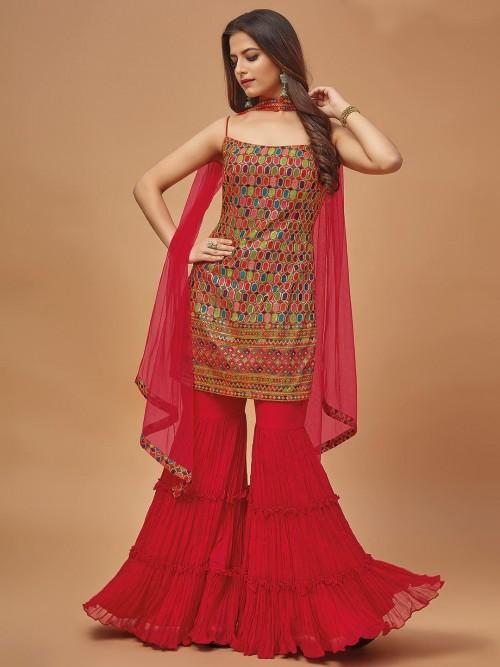 Magenta Hue Punjabi Sharara Suit In Georgette