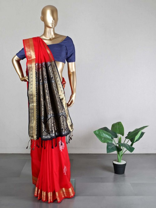 Magenta Semi Silk Saree For Women With Ready Made  Blouse