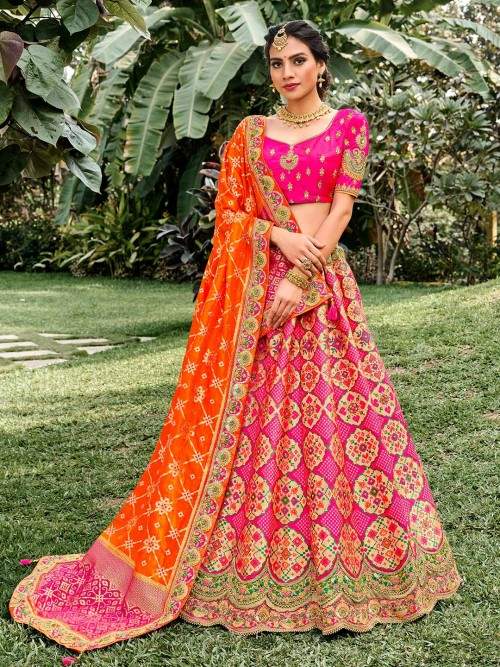 Magenta Wedding Wear Semi Stitched Lehenga Choli