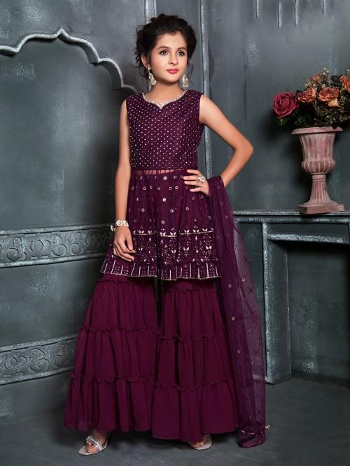 Maroon Georgette Fabric Punjabi Sharara Suit