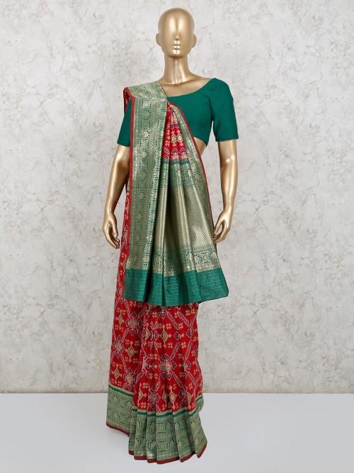 Maroon Patola Silk Wedding Wear Saree