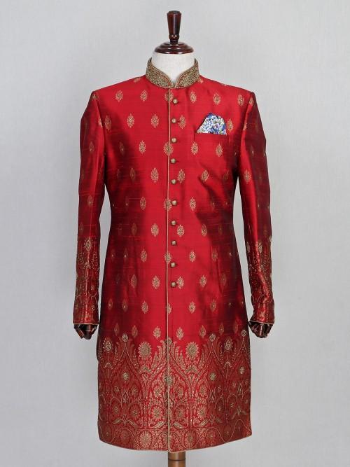 Maroon Raw Silk Wedding Wear Sherwani