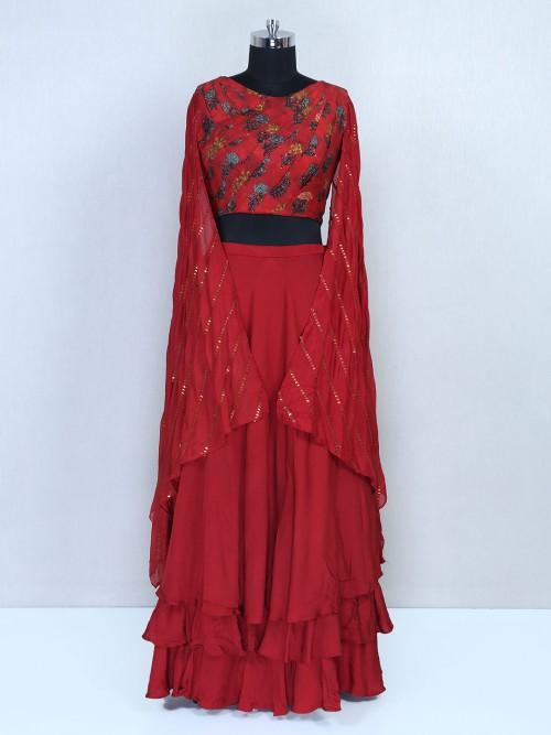Maroon Semi Silk Wedding Wear Leehnga Choli