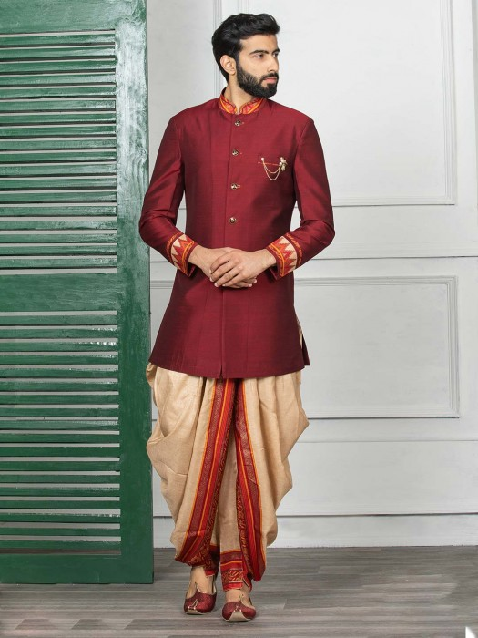Maroon Solid Terry Rayon Fabric Indo Western
