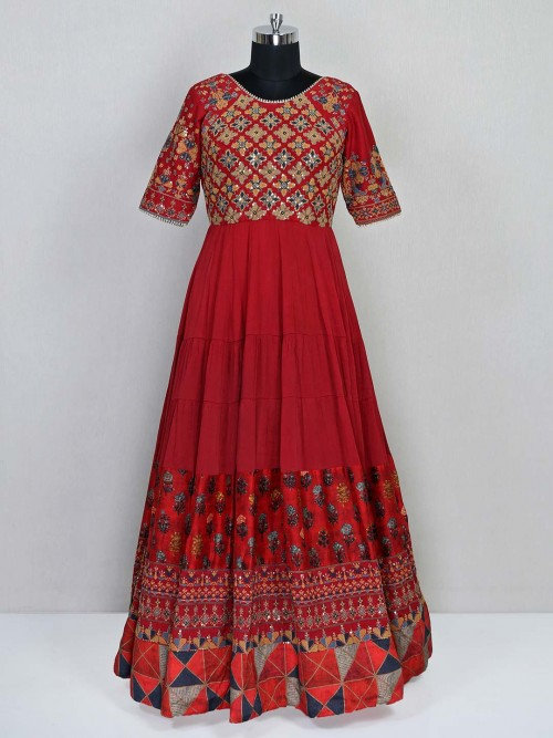 Marron Floor Length Anarkali Suit In Chiffon