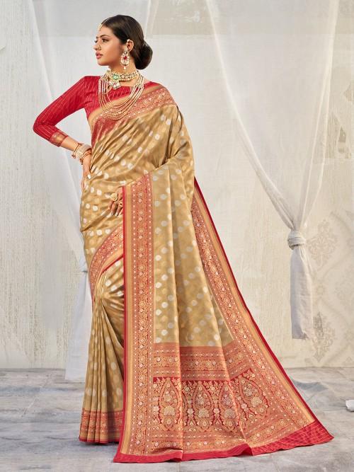 Marvellous Banarasi Tissue Silk Wedding Wear Saree In Beige