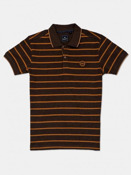 Mufti Brown Stripe Cotton Polo T-shirt