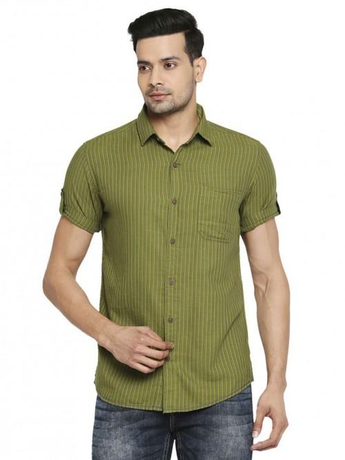 Mufti Green Stripe Style Cotton Shirt