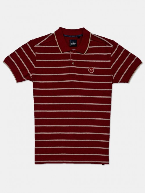 Mufti Mens Maroon Stripe Polo T-shirt