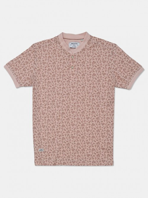Mufti Printed Peach T-shirt