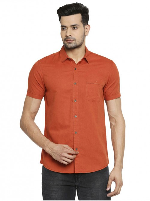 Mufti Solid Orange Cotton Shirt
