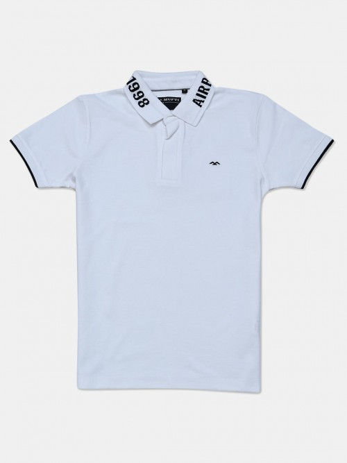 Mufti Solid White Cotton Mens Polo Mens T-shirt