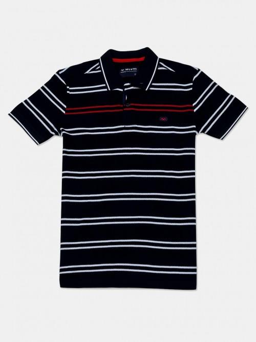 Mufti Stripe Navy Cotton Polo T-shirt