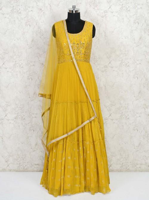 Mustard Georgette Party Wear Anarkali Salwar Suit