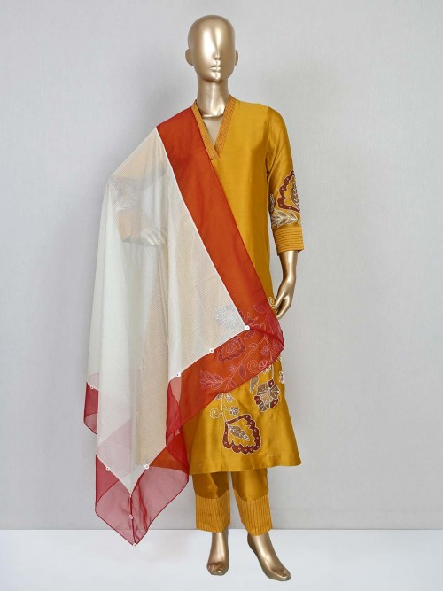 Mustard Silk Pant Style Suit For Festive