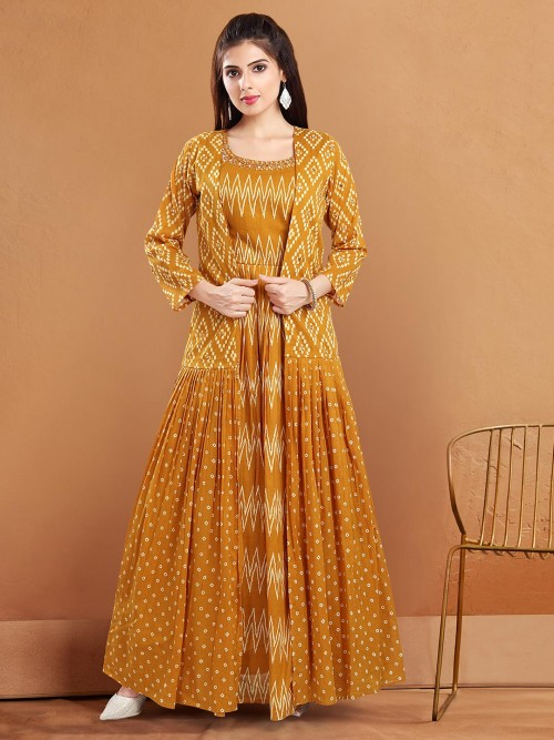 Mustard Yellow Cotton Jacket Style Suits For Festive Occasions