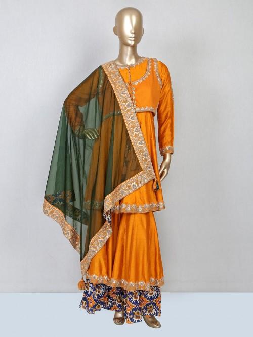 Mustard Yellow Silk Sharara Suit For Wedding
