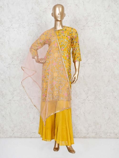 Mustard Yellow Thread Work Cotton Palazzo Suit