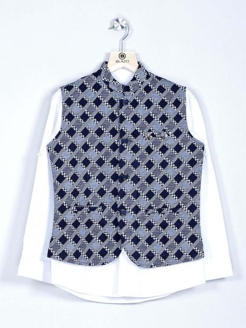 Navy And White Checks Cotton Waistcoat