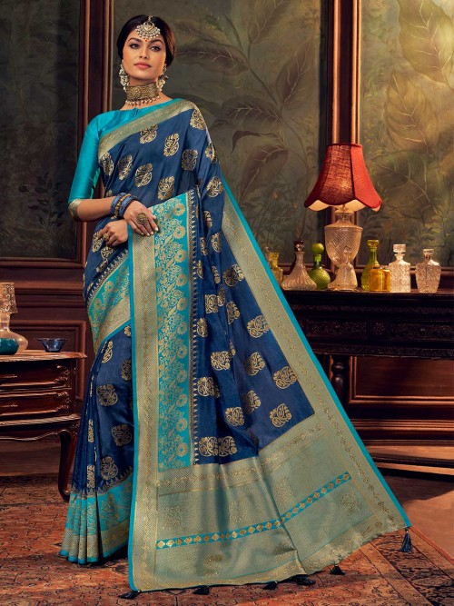 Navy Blue Wedding Wear Saree For Women