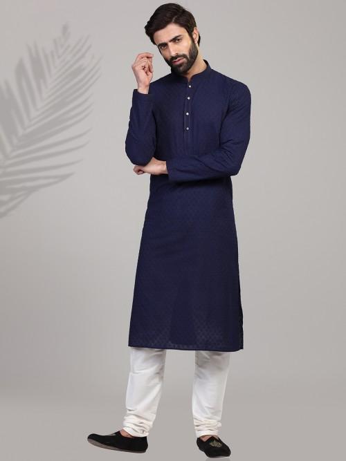 Navy Cotton Chikan Thread Pattern Kurta Suit