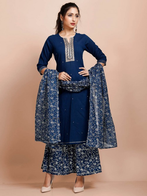 Navy Cotton Festive Wear Punjabi Palazzo Suit