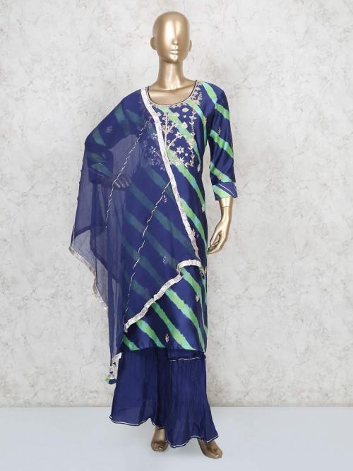 Navy Cotton Round Neck Punjabi Sharara Suit