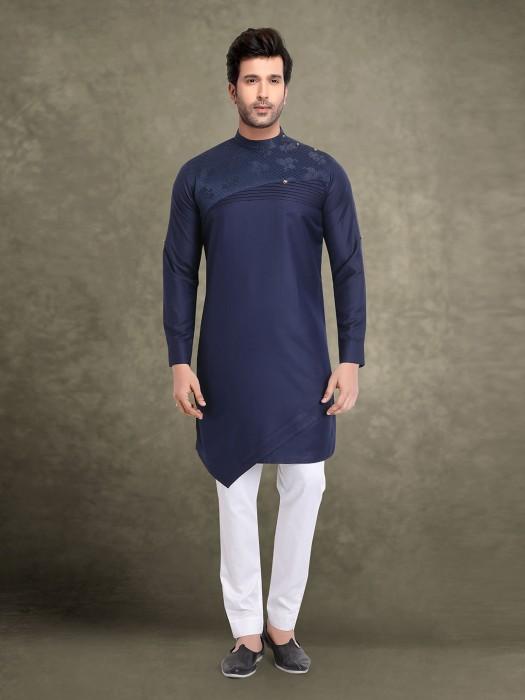 Navy Designer Cotton Kurta Suit
