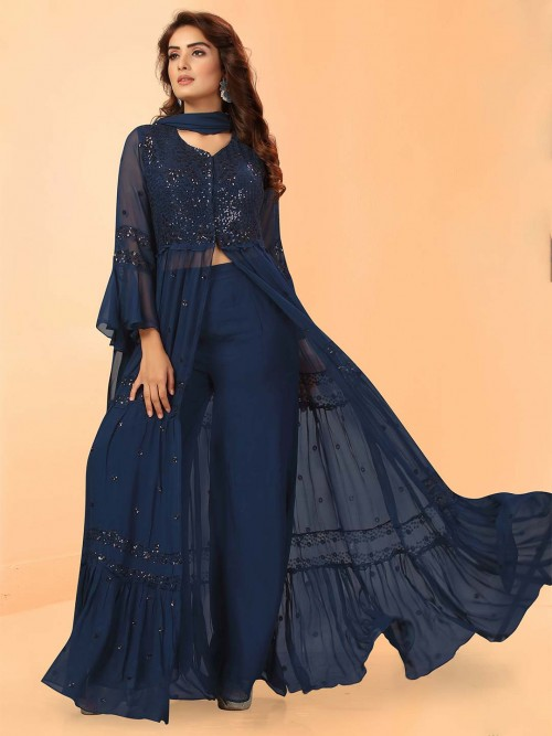 Navy Georgette Jecket Indo Western Style Pant Suit