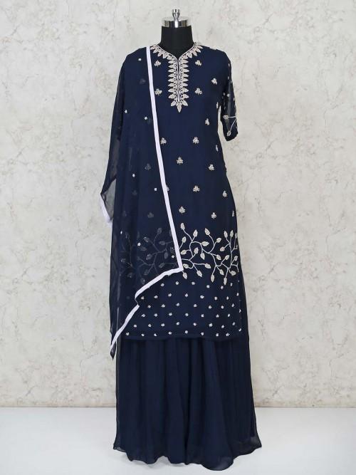 Navy Georgette Party Function Punjabi Lehenga Suit