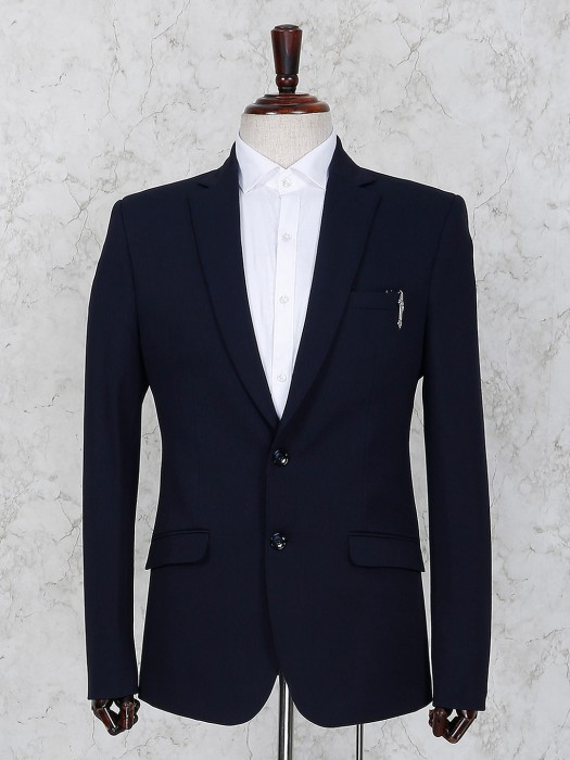 Navy Hue Terry Rayon Party Function Blazer