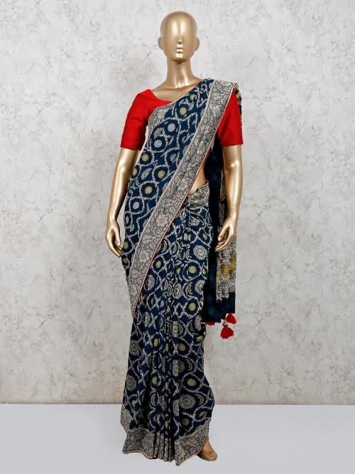 Navy Muga Silk Saree For Party Wear