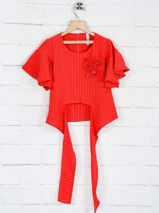 No Doubt Red Stipe Design Cotton Top