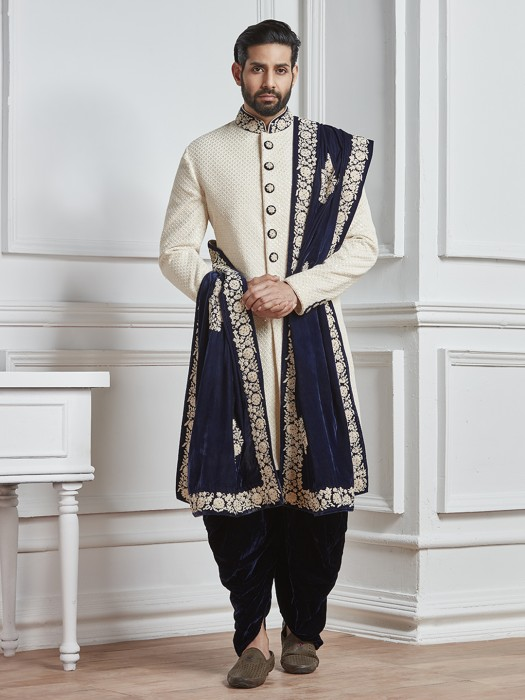 Off White Groom Indo Western