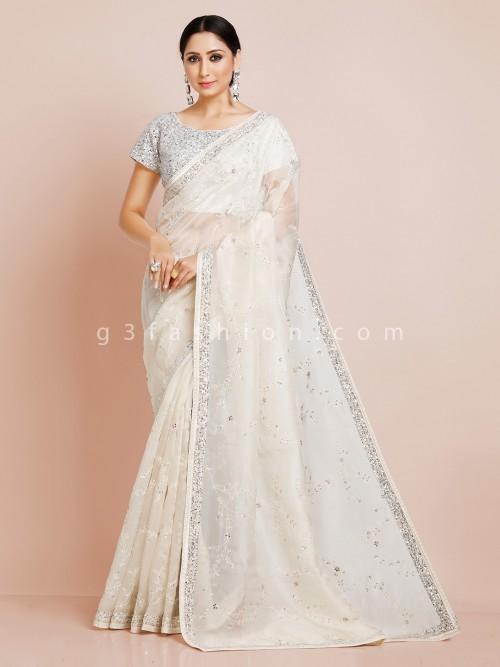 Off White Organza Tissue Silk Saree With Readymade Blouse