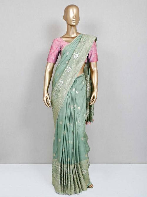 Olive Semi Silk Wedding Wear Sari