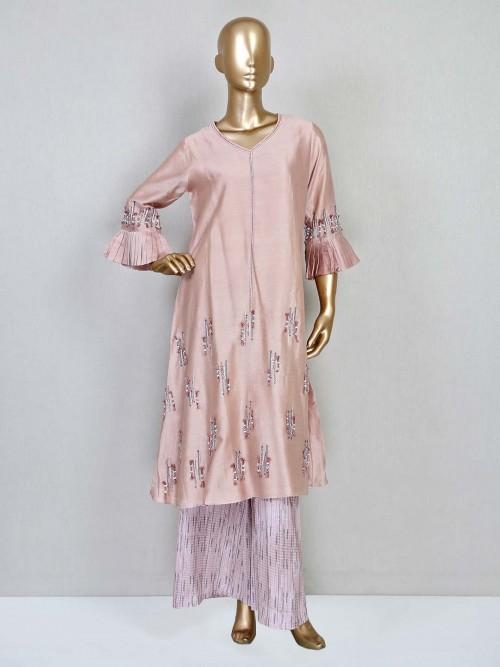 Onion Pink Festive Wear Palazzo Suit