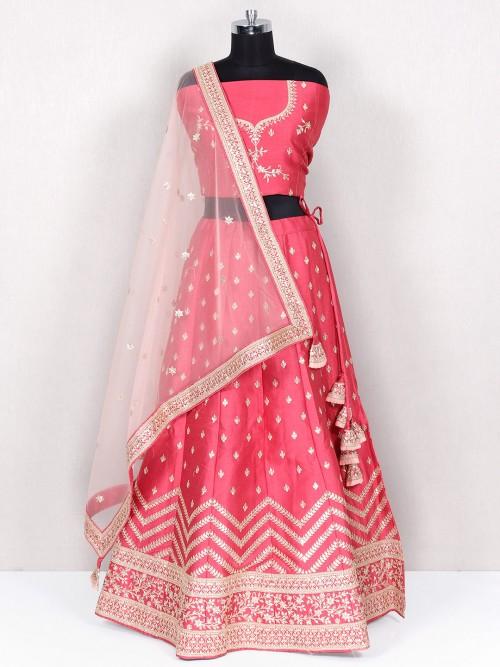 Onion Pink Unstitched Lehenga For Wedding
