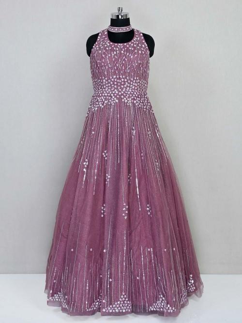 Onion Pink Wedding Wear Net Gown