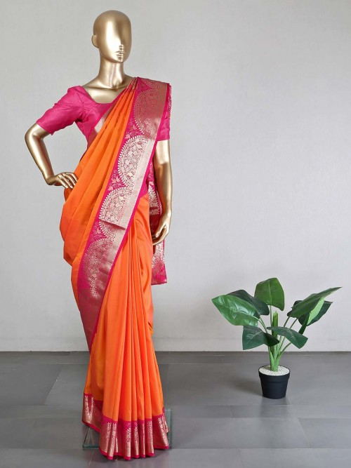 Orange Silk Saree For Women With Ready Made Blouse