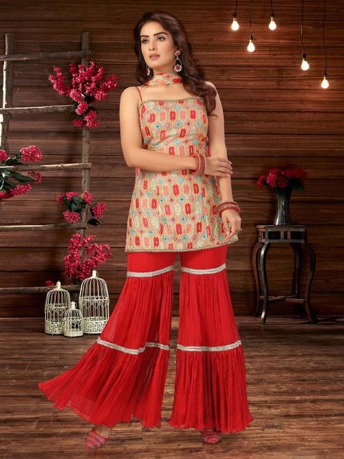 Peach And Red Wedding Wear Georgette Sharara Salwar Kameez
