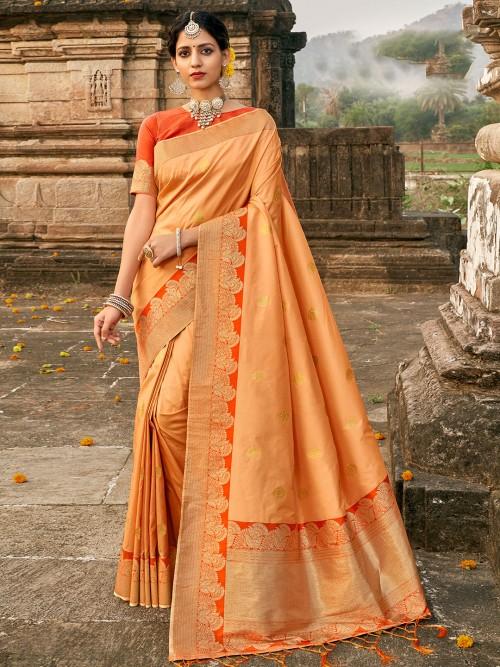 Peach Colored Banarasi Silk Saree For Wedding