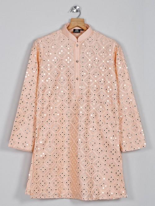 Peach Cotton Silk Festive Boys Kurta Suit