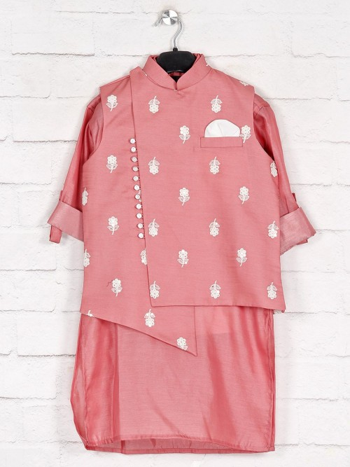 Peach Cotton Silk Waistcoat With Kurta