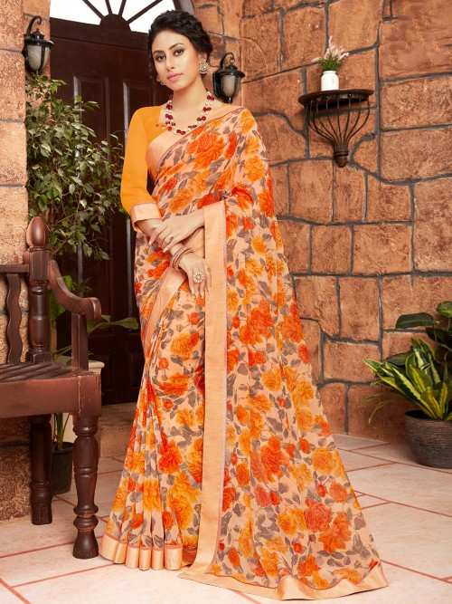 Peach Floral Print Georgette Saree For Festive Look