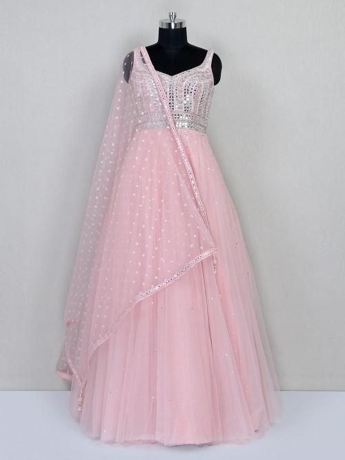 Peach Georgette Floor Length Anarkali Suit