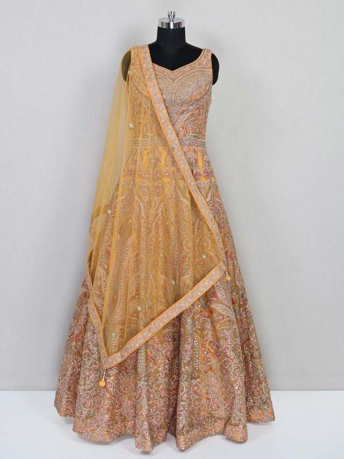 Peach Georgette Wedding Wear Gown