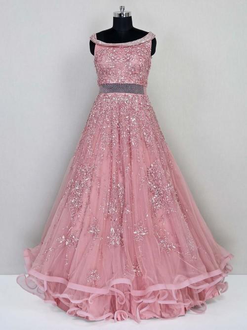 Peach Net Gown For Women In Net