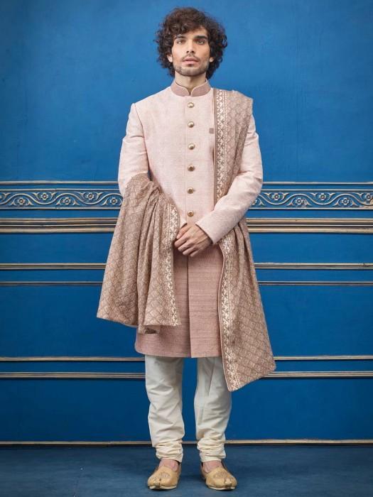 Peach Terry Rayon Indo Western With Designer Dupatta