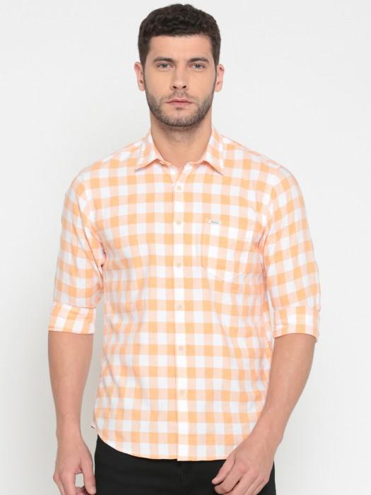 Pepe Jeans Checks Cotton Peach Shirt